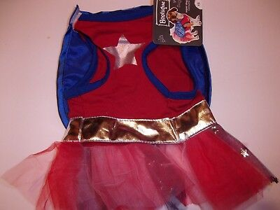 SUPER DOG Dress girl Costume new pet Petco halloween  L Hero Large