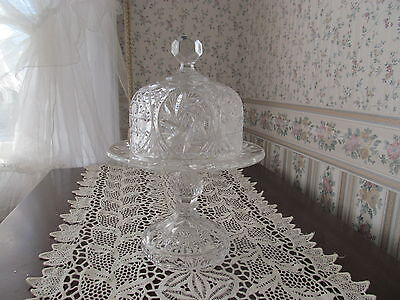 vtg glass  butter cheese dish dome coverd petastal presed,  cut