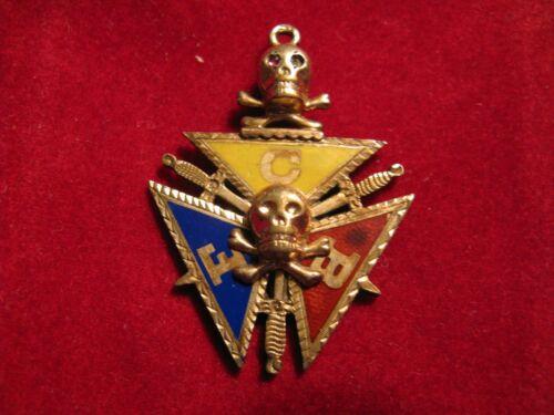Early Knights of Pythias Masonic / Fraturnal FBC Skull and Cross Bone Watch Fob
