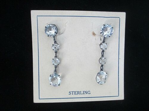 ANTIQUE STERLING SILVER PASTE DROP/ DANGLE SCREW BACK EARRINGS BRIDE OSS