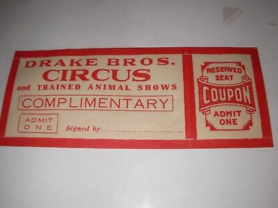 Drake Bros Brothers Circus trained animal show Ticket Vintage Collectible coupon