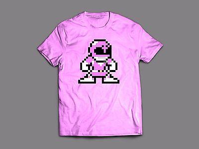 POWER RANGERS 8 BIT PINK RANGER T-shirt - CUSTOM ACTION DESIGN **OLD SKOOL**