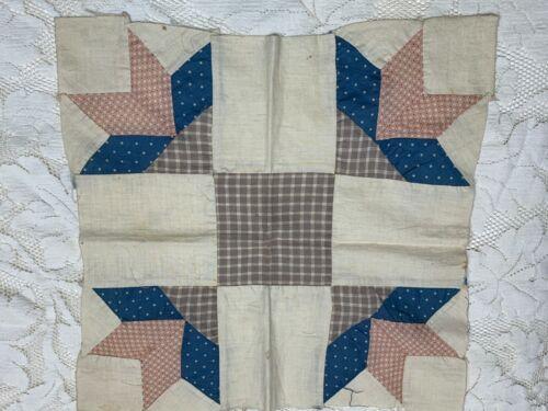 "Antique 1860-1880 Goose Tracks Quilt Block 14 3/4"" Homespun Blue Reds Hand Sewn"