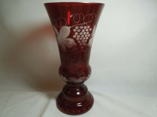 """Egermann? Ruby Cut To Clear Grapes And Vines Vase 10"""" Tall"""