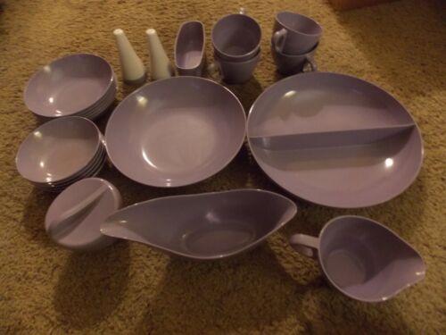 21 piece lot, ROYALON Lavender Melmac Bowls, Salt/Pepper, Gravy Boat, Sugar Bowl