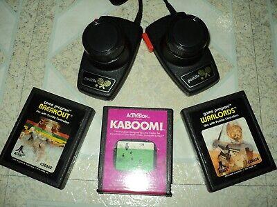 Atari 2600 Original CX30 Jitter Free Paddles With Games Kaboom Breakout Warlords