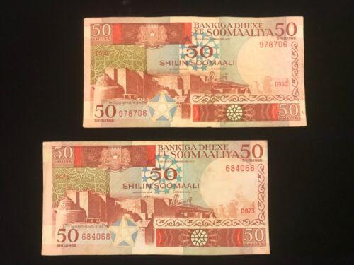 Somalia Vintage Paper Money Lot  - 2 different notes 50 shillings 1983 & 1987