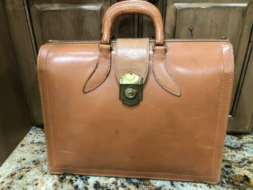 Vtg Doctors Bag Leather Briefcase Top Grain Cowhide Medicine Luggage