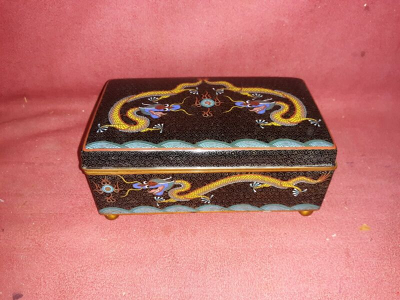 Antique Chinese Cloisonne Box With Dragon