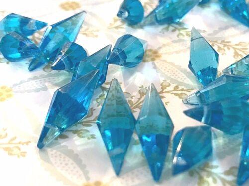 Vintage Sapphire Pendants,Glass Beads, Faceted drops,20mm Dangles, NOS #1309