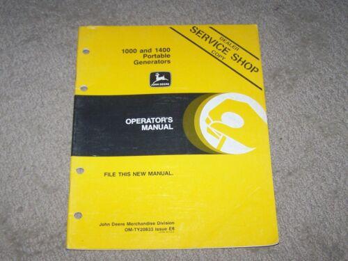 John Deere Used 1000 & 1400 Portable Generators  Operators Manual A8