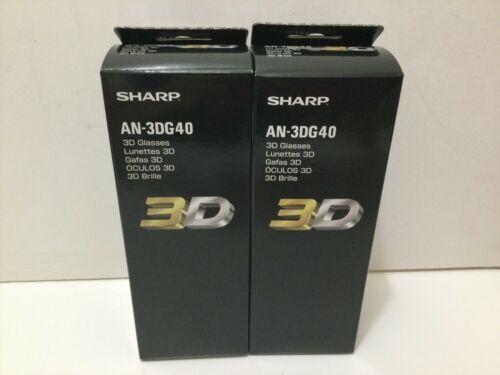 Lot of 2 NEW Sharp AQUOS 3-D 3D Bluetooth Glasses Active Shutter Model AN-3DG40
