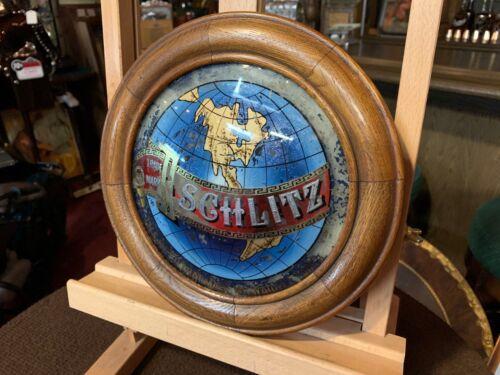 "SCHLITZ Beer Convex Reverse Glass Advertising Sign ""Watch Video"""