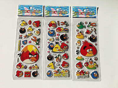 10 x ANGRY BIRDS Sticker strips -  Party Bag Fillers Birthday party favours](Angry Birds Party Favours)