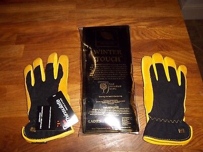 Royal Horticultural Society 'Winter Touch' mens leather gardening gloves large