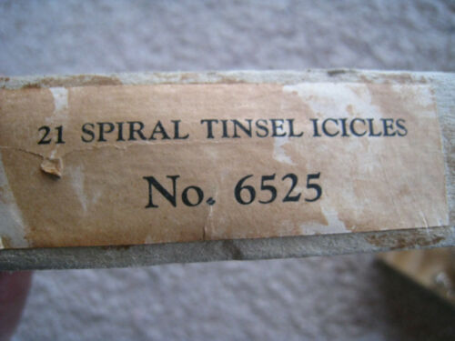 Antique Spiral Tinsel Metal Wire Icicle Christmas Tree Ornaments Original Box