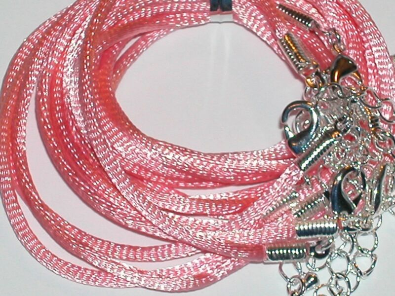 1Pc. Pink soft Satin Cord Ribbon Pink Necklace Lobster clasp NEW
