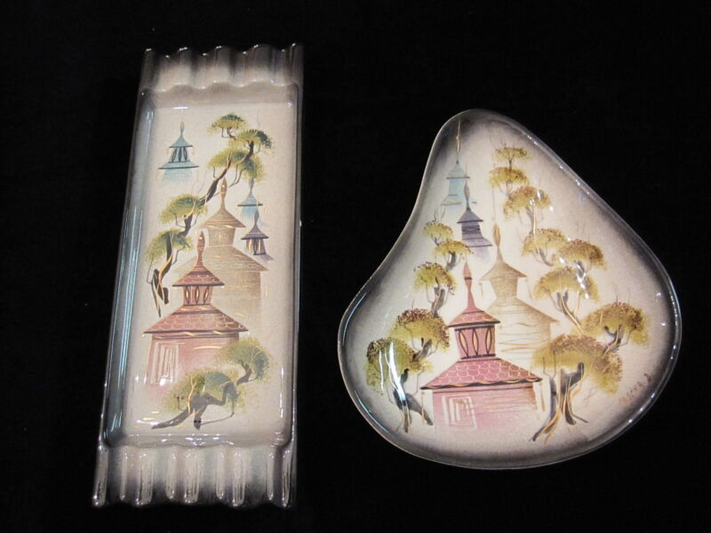 Vintage Mid Century signed SASCHA BRASTOFF Pagoda Dish & Ashtray