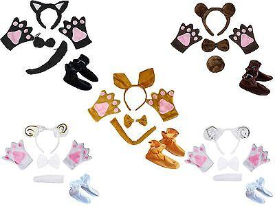 Halloween Animal School Party Unisex Kids Child Headband Bow Tail Paw Shoes 5pc](Kid Animal Halloween Costumes)