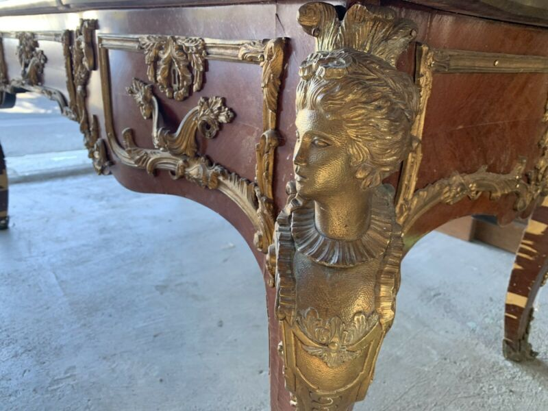 Antique French Figural Bronze Large Burea Plat Circa 1900