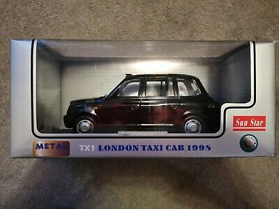 London Taxi TX1 Black Cab 1 :18 Diecast Diecast Model Car Sunstar Boxed