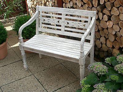 Gartenbank Holz Teak massiv,2-Sitzer Hochzeit , Shabby-Look / Weiß / Altweiß neu