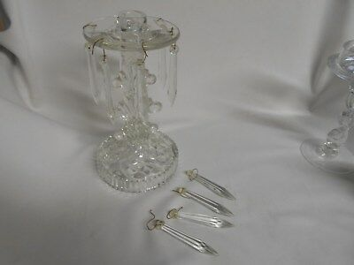 vintage clear elegant cut glass candle holder with 6 glass prisms plus 4 extra