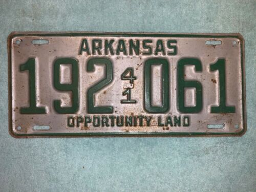 WWII HOME FRONT ARKANSAS LICENSE PLATE 1941 LITTLE ROCK AUTO CAR AUTOMOBILE TAG