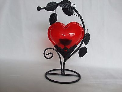 Attractive Metal & Glass Big Heart Candle/Tealight Stand Red Boxed Romantic