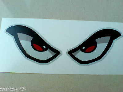 REFLECTIVE EVIL EYES Car Motorcycle Helmet Stickers Decals 1 off Pair 90mm