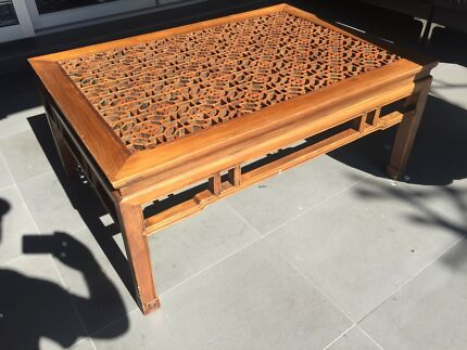 Asian/Chinese hand-made lattice coffee table
