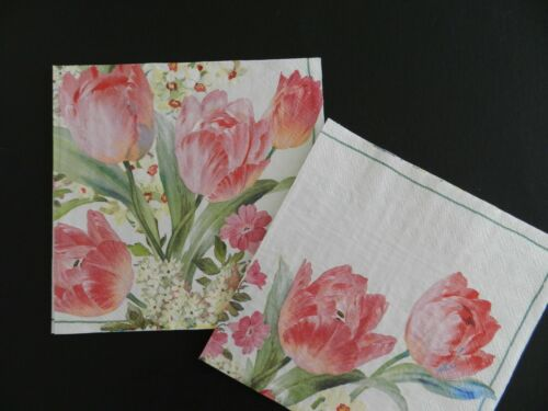 2 (Two) Single Lunch Dinner Paper Napkins Decoupage Craft Pink Flowers Tulips