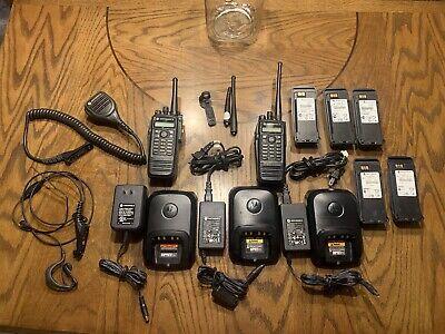 Motorola Xpr6550 Uhf Digital Dmr Set 2 Radios Mics Chargers Batteries Allwork