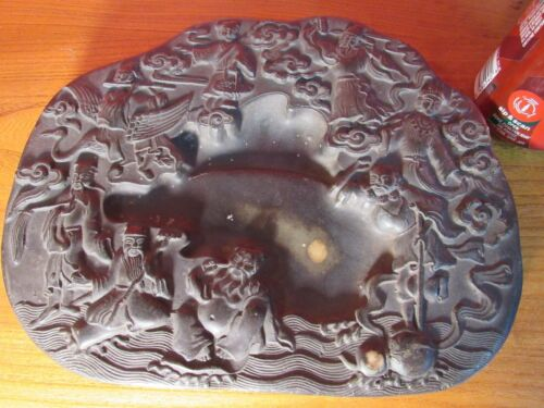 Large Old Chinese Hand Carved the Eight Immortals Ink Stone Ink Slab Mark