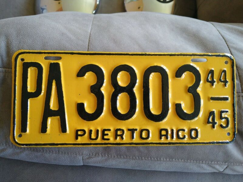 PUERTO RICO PA Vintage Extremely Rare LICENSE PLATE 1944-45 Auto Publico Rare!
