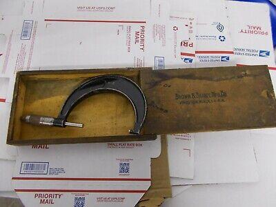 Vintage Brown And Sharpe Micrometer Caliper Original Box