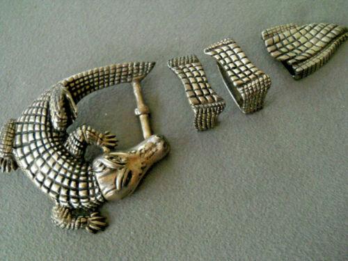 ALEXANDER KALIFANO Sterling Silver Alligator Pin Buckle Ranger Set Belt 32