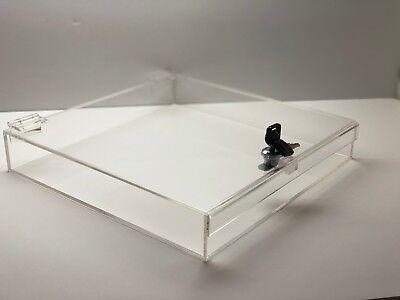 Acrylic Square Countertop Display Case Lock Box 12 X 12 X 2 Box Display