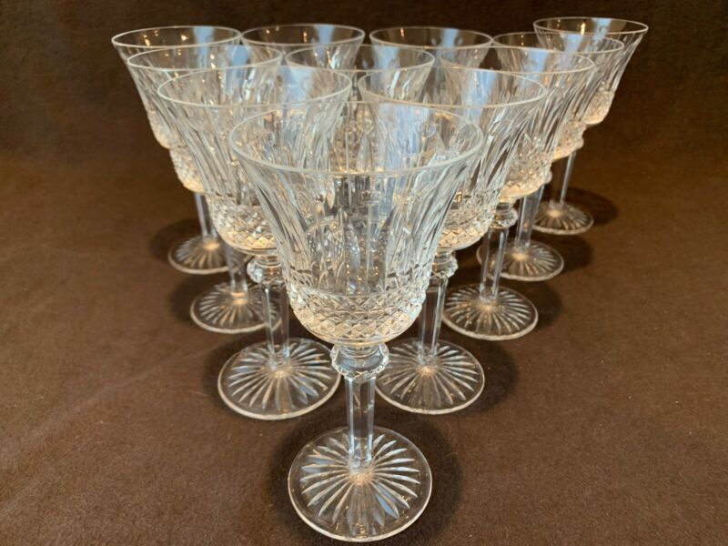 """Saint St. Louis Crystal Tommy Continental Water Wine Goblet Glass Set 11- 7 1/8"""""""