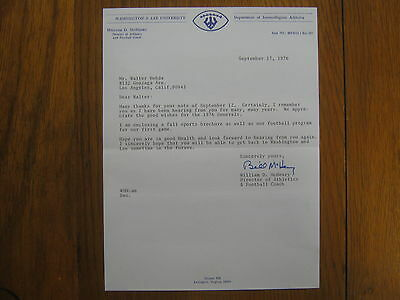 William  BILL  McHENRY Signed 1976 Letter (Washington & Lee Head Football Coach)