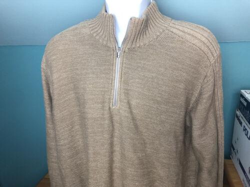 Columbia Beige Quarter Zip Cotton Long Sleeve Sweater Men's