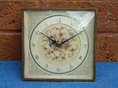 Lovely Vintage Embroidered Floral Pink Rose Petit Point Dressing Table Clock
