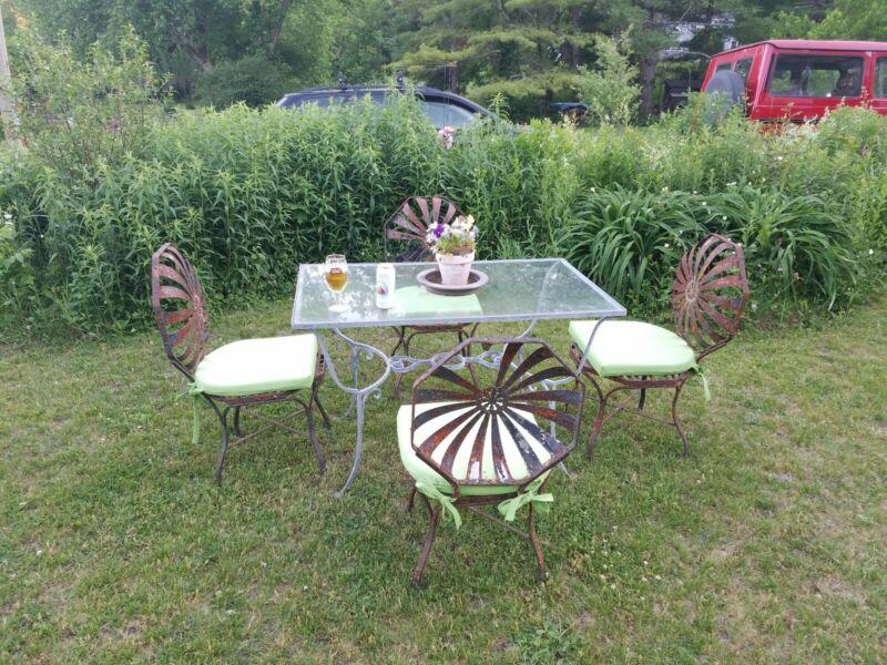 Set of 4 vintage Francois Carre Antique Spring Metal Garden Chairs