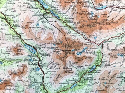 Antique Color Map : SNOWDON DISTRICT, ENGLAND :  F. Muirhead 100% Original 1930