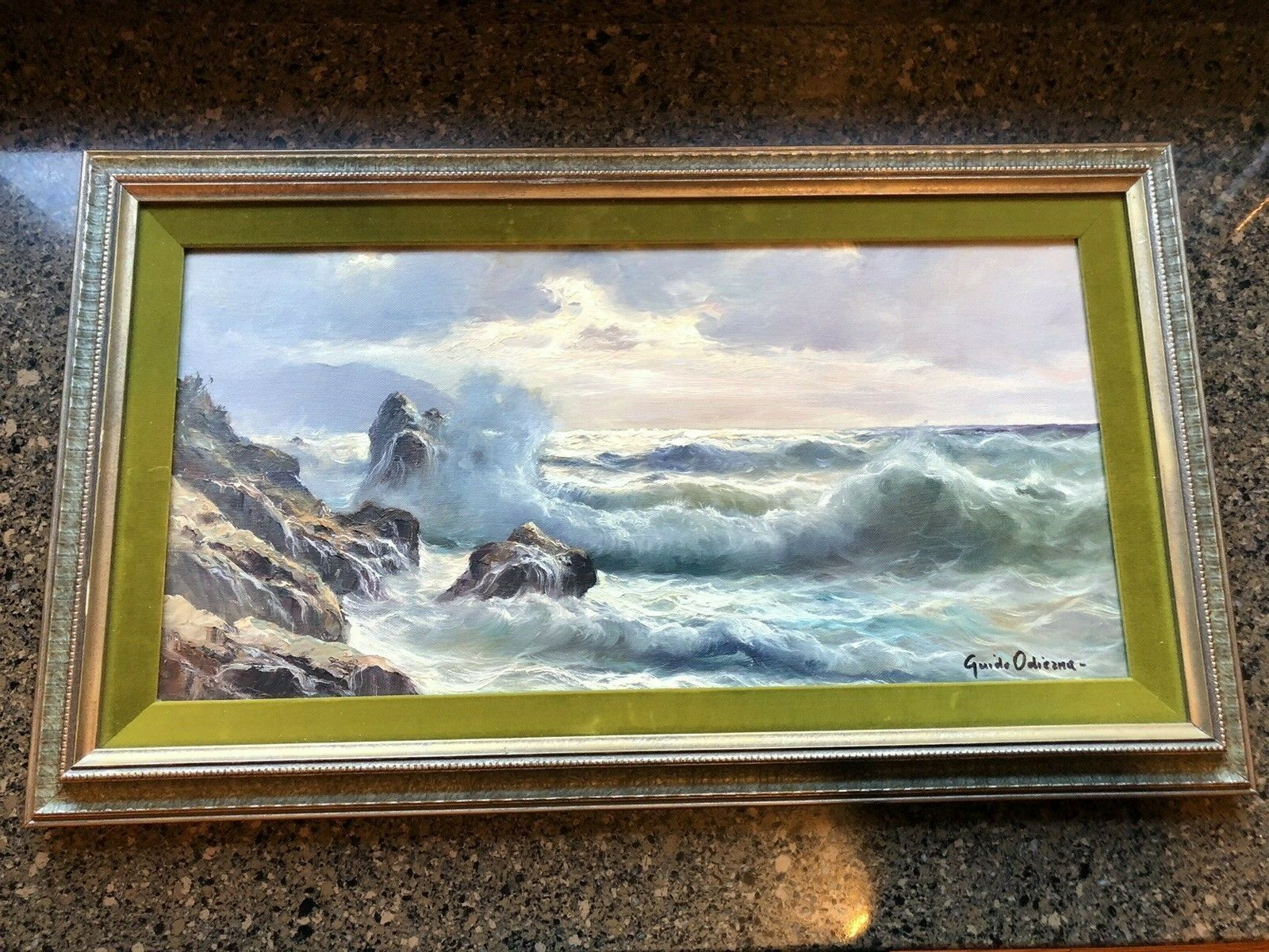 Signed Original Guido Odierna Oil Painting Of Crashing Waves framed And Matted  - $749.99