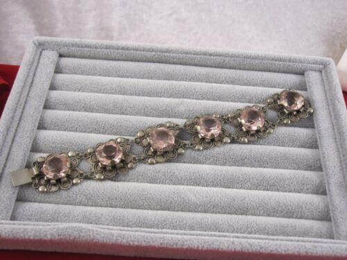 Antique Mexican Silver Pink Stone Bracelet