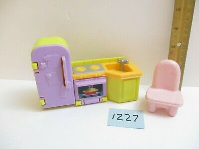 Fisher Price My First Dollhouse Kitchen Lot Refrigerator Sink Stove Unit w?Chair
