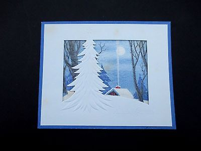 #L135- Vintage Art Deco Style Xmas Greeting Card Country Cottage in Winter