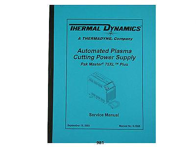 Thermal Dynamics Pakmaster 75xl Plus Plasma Cutter Service Manual 981