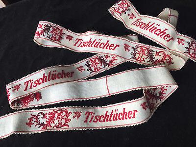 """Rarität Meterware für 4x gestickte Wäschebänder """"Tischtücher """" Engelchen um1900"""